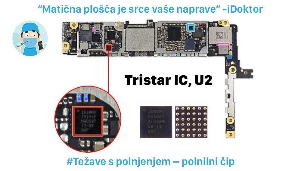 iPhone popravilo na maticni plosci idoktor u2 cip tristar2