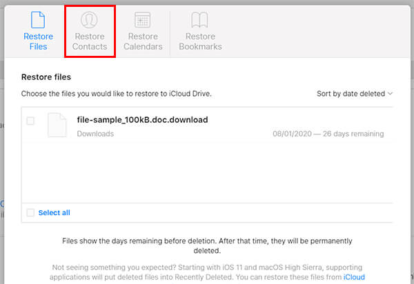 Restore deleted contacts on iCloud8