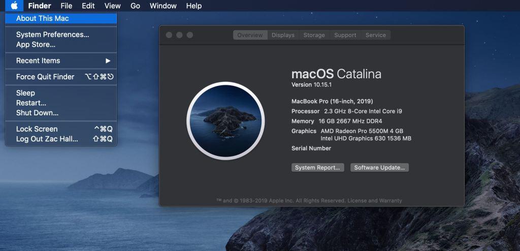 macOS Catalina version 1