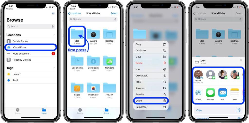 how to share icloud drive folders iphone ipad walkthrough 1