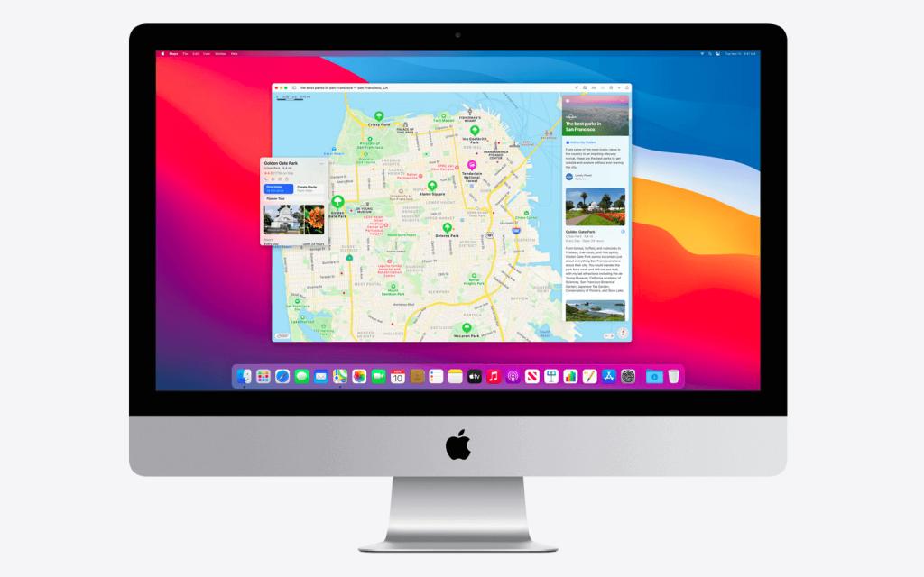 Pri BigSur je novost posodobitev Maps