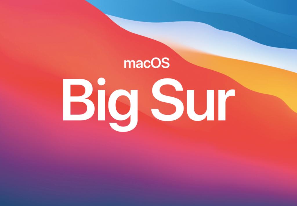 MacOS BigSur ozadje oz wallpaper z napisom Big Sur