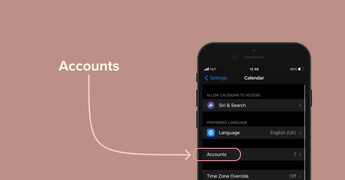 Tukaj izberemo Accounts