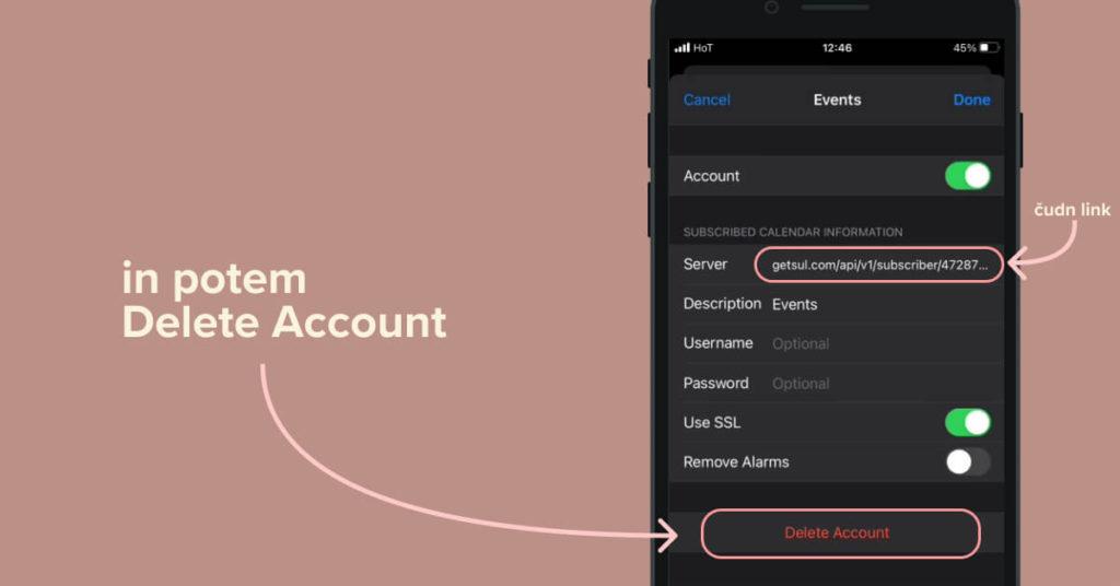 Če ti zadeva ni znana, spodaj klikni Delete Account
