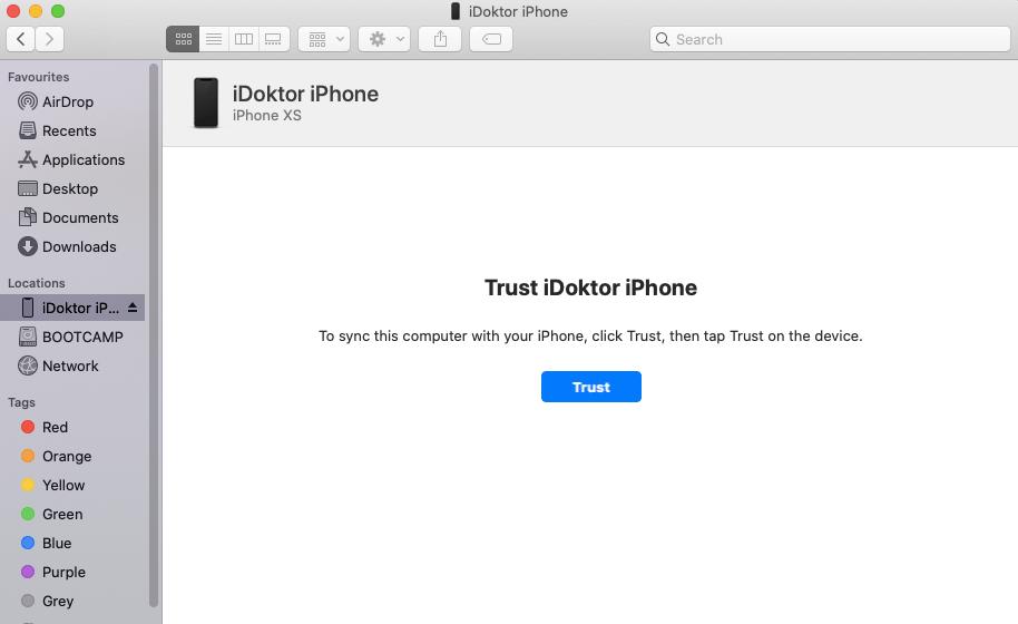 Trust iPhone okno