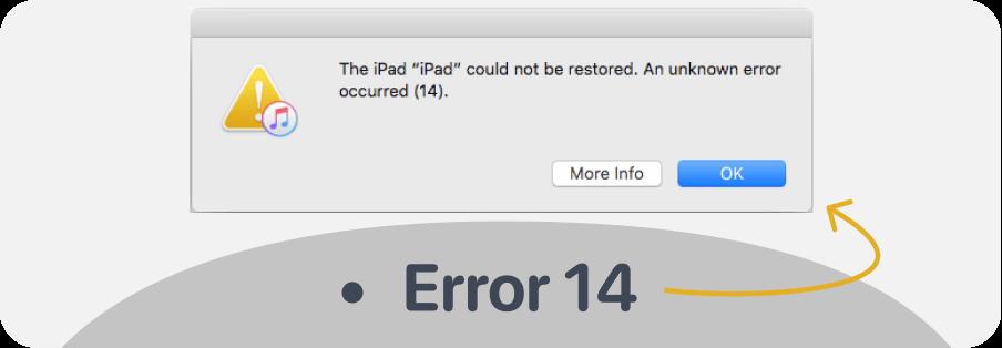 Tako izgleda Error 14 v programu iTunes